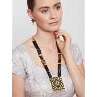 Black Kundan Studded Meenakari Gold-Plated Jewellery Set