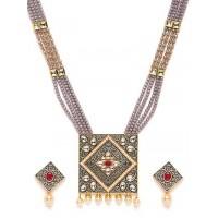 Grey Kundan Studded Meenakari Gold-Plated Jewellery Set