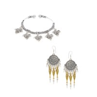 Dual Toned Oxidized Earrings and Leafy Charm Bracelet Combo