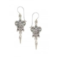 Combo of Silver Flower and Silver Tortoise Earrings
