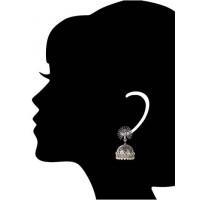 Mor Silver Jhumka Earrings