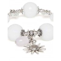 Off White and Silver Sun Charm Bracelet