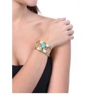 Gold Flake Turquoise Semi Precious Handmade Jewellery Cuff Bracelet