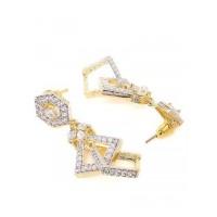 American Diamond Geometrical Dangle Earrings