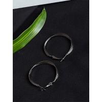 Short Multiple Silver Hoop Earrings