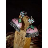 Pink and Green Meenakari Jhumki Earrings