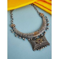 Silver-Toned and Antique Gold Toned Textured Tribal Necklace