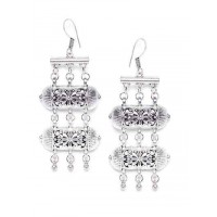 Layered Tribal Jewellery Danglers With Metallic Bells