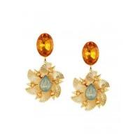 Designer Golden and Brown Brass Dangle Earrings For Women