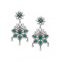 Brass Based Oxidized Silver Earrings Embellished With Green Stones and Lotus Motifs
