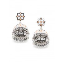 Patterned Orange and White Meenakari Jhumki Earrings