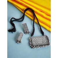 Threaded Silver Toned Metal Handcrafted Necklace Set