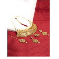Golden Mesh Stone Studded Traditional Golden Jewellery Set for Wedding