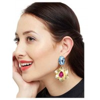 Rolling Stone Sapphire Fuchsia Brass Baroque Designer party Wear Earrings