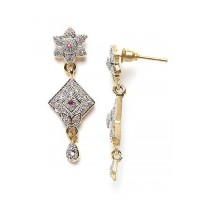 American Diamond Square Dangle Earrings with Red Stone
