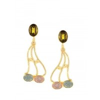 Moondust Fashion Olivine, Lake Blue Opal and Rose Water Opal Designer Party Wear Earrings