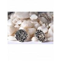 Black Sterling Silver Shield Stud Earrings