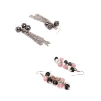 Bronze Chain and Black, Pink Western Earrings Combo