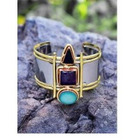 Druzy Amethyst Black Onyx Semi Precious Handmade Jewellery Cuff Bracelet