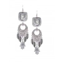 Adorable Floral Tribal Jewellery Danglers With Hanging Pretty Trinkets