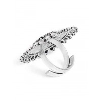 Adjustable Oxidized Silver Floral Patterned Ring