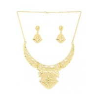 Ethnic Golden Necklace Set with Floral Work