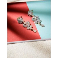 American Diamond Floral Heart Dangle Earrings