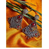 Jhumar Style Brass Based Oxidized Silver Earrings With Floral Embellishments