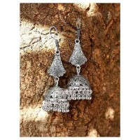 Tribal Jewellery Bell Shaped Long Jhumkis With Pretty Hangings