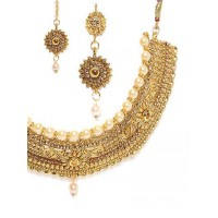Royal Golden Pearl and Stone Studded Jewellery Set for Wedding