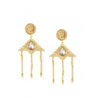 Vintage Ville Hanging Brass Crystal Designer Baroque Party Wear Earrings