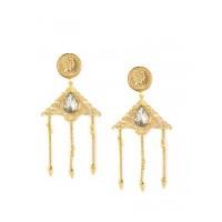 Golden Designer Brass Dangle Earrings