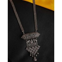 Ganesha Silver Plated Handcrafted Floral Necklace