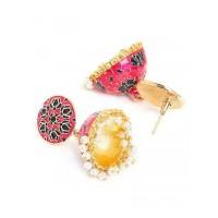 Pink and Black Lotus Meenakari Jhumki Earrings