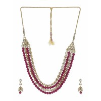 Deep Red Glistening Stone Gold Plated Fashion Necklace Set