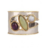 Amethyst and Lime Handmade Jewellery Cuff with Moonstone