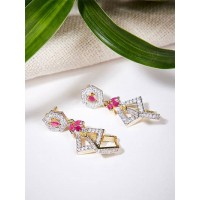 American Diamond Dangle Earrings with Red Stones