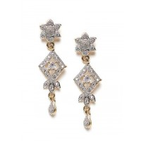 American Diamond Floral Dangle Earrings