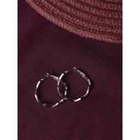 Short Silver Zig-Zag Hoop Earrings