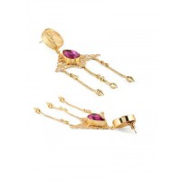 Vintage Ville Fuchsia Hanging Brass Designer Party Wear Earrings