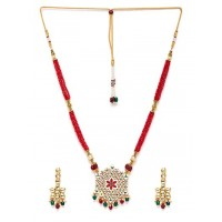 Golden & Red Gold-Plated Kundan Jewellery Set