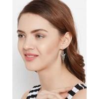 Oxidized Silver Triangular Earrings