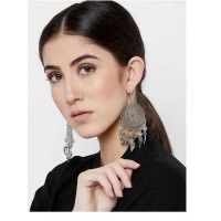 Floral Circular Tribal Jewellery Danglers with Hanging Leaves