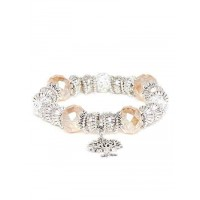 Silver and Brown Tree Charm Bracelet