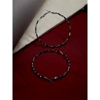 Silver Zig Zag Round Hoop Earrings
