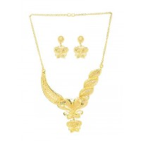 Golden Butterfly Necklace Set with Floral Work