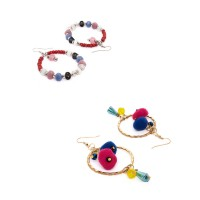 Multicolored Beaded and Pom-Pom Western Earrings Combo