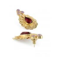 Troublemaker Siam with Hazel Opal Handcrafted Designer Baroque brass based Party Wear Earrings