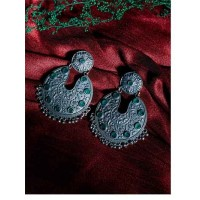 Green Stones Embellished Brass Based Oxidized Silver Earrings With Floral Motifs