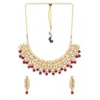 Gold-Plated & Maroon Beaded Kundan Jewellery Set